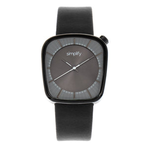 Simplify The 6800 Leather-Band Watch - Black/Charcoal - SIM6804