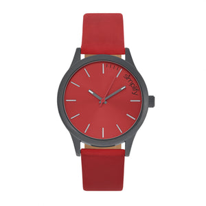 Simplify The 2400 Leather-Band Unisex Watch - Black/Red - SIM2405