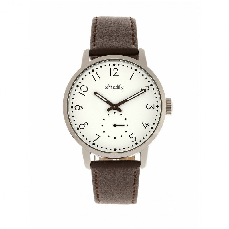 Simplify The 3400 Leather-Band Watch