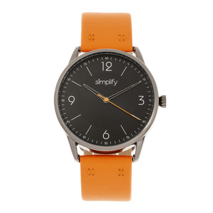 Simplify The 6300 Leather-Band Watch - Orange/Black - SIM6305