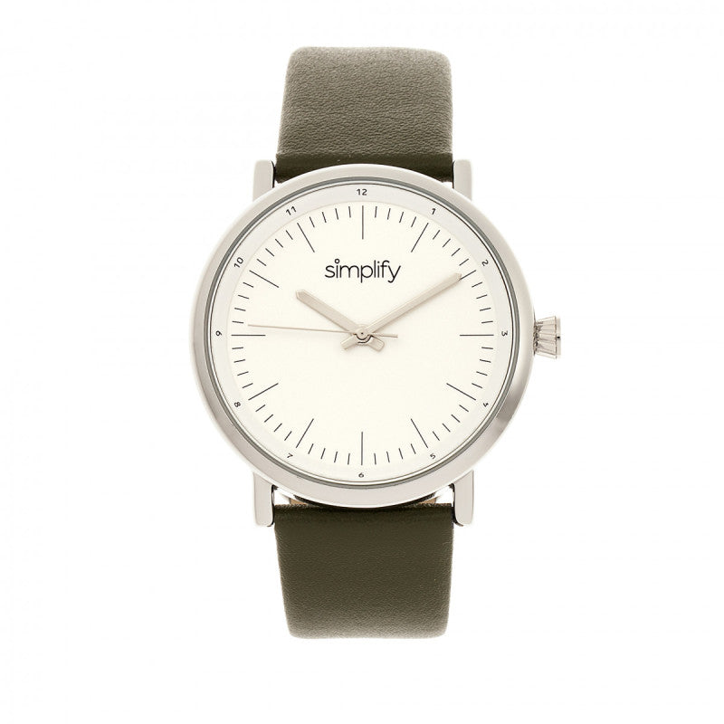 Simplify The 6200 Leather-Strap Watch