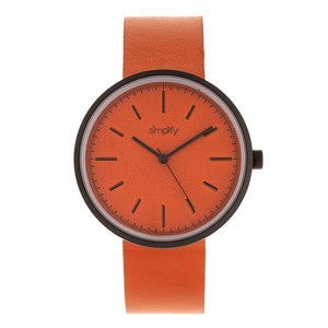 Simplify The 3000 Leather-Band Watch - Orange - SIM3003