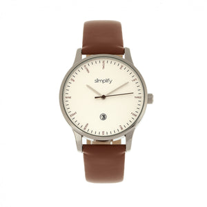 Simplify The 4300 Leather-Band Watch w/Date - Silver/Brown - SIM4302