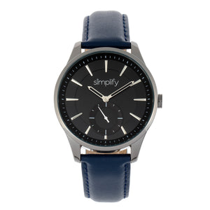 Simplify The 6600 Series Leather-Band Watch - Blue/Black - SIM6606