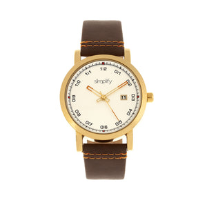 Simplify The 5300 Strap Watch - Gold/Brown - SIM5304