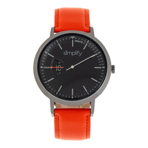 Simplify The 6500 Leather-Band Watch - Orange/Black - SIM6506