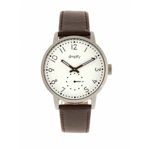 Simplify The 3400 Leather-Band Watch - Silver/Dark Brown - SIM3401