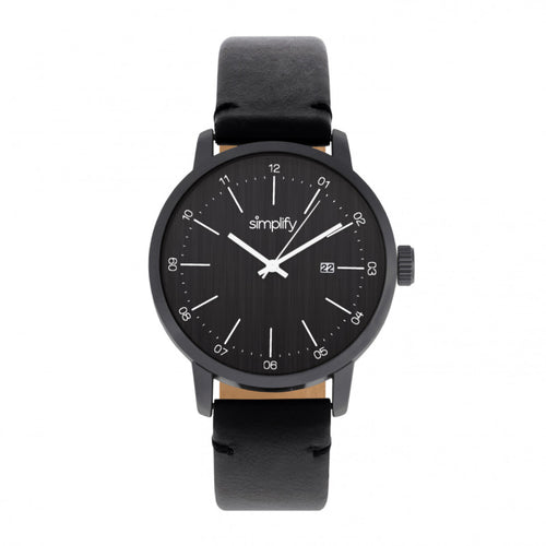 Simplify The 2500 Leather-Band Men's Watch w/ Date - SIM2502