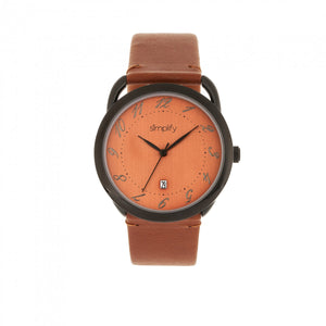 Simplify The 4900 Leather-Band Watch w/Date - Black/Orange - SIM4905