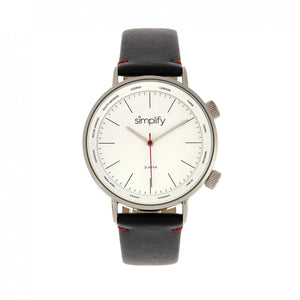 Simplify The 3300 Leather-Band Watch - Black/Silver - SIM3301