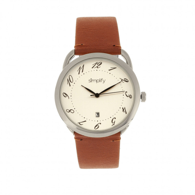 Simplify The 4900 Leather-Band Watch w/Date