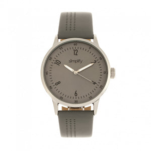 Simplify The 5700 Leather-Band Watch - Grey - SIM5703