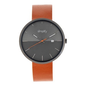 Simplify The 6400 Leather-Band Watch w/Date - Gunmetal/Orange - SIM6405