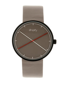 Simplify The 4100 Leather-Band Watch - Black/Grey - SIM4102
