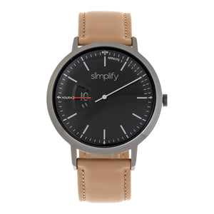 Simplify The 6500 Leather-Band Watch - Beige/Black  - SIM6505
