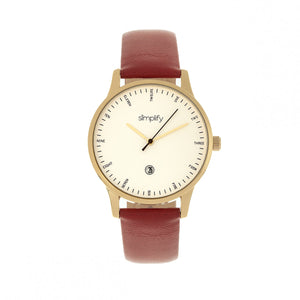 Simplify The 4300 Leather-Band Watch w/Date - Gold/Dark Brown - SIM4306