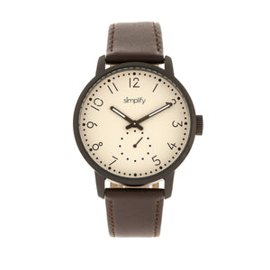 Simplify The 3400 Leather-Band Watch - Gunmetal/Dark Brown - SIM3405