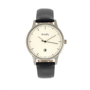 Simplify The 4300 Leather-Band Watch w/Date - Silver/Black - SIM4301
