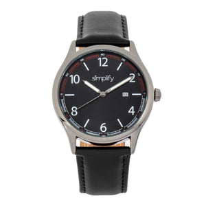 Simplify The 6900 Leather-Band Watch w/ Date - Black - SIM6904