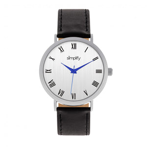 Simplify The 2900 Leather-Band Watch - Silver/Black - SIM2901