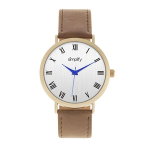 Simplify The 2900 Leather-Band Watch - Gold/Brown - SIM2903