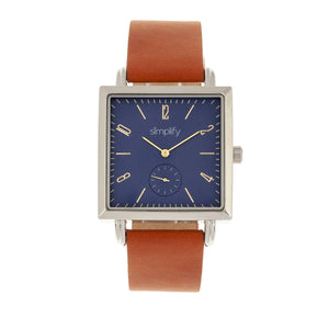 Simplify The 5000 Leather-Band Watch - Brown/Blue - SIM5004