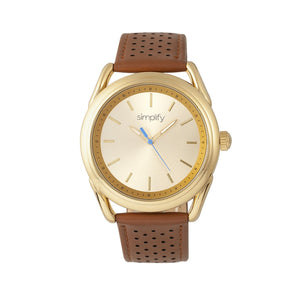 Simplify The 5900 Leather-Band Watch - Gold/Camel - SIM5903
