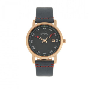 Simplify The 5300 Leather-Band Watch w/Date