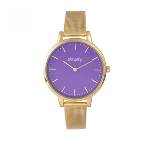 Simplify The 5800 Mesh Bracelet Watch - Gold/Purple - SIM5804