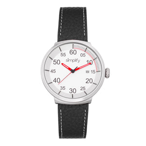 Simplify The 7100 Leather-Band Watch w/Date - Black/Silver - SIM7101