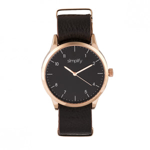 Simplify The 5600 Leather-Band Watch - Black/Dark Brown - SIM5605
