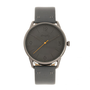 Simplify The 6300 Leather-Band Watch - Charcoal - SIM6306