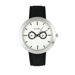 Simplify The 6100 Canvas-Overlaid Strap Watch w/ Day/Date - White/Black - SIM6102