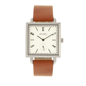 Simplify The 5000 Leather-Band Watch - Brown/White - SIM5003