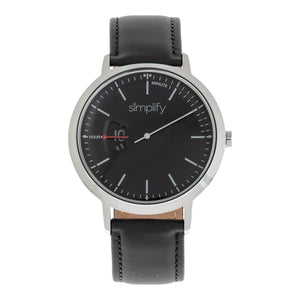 Simplify The 6500 Leather-Band Watch - Black - SIM6502