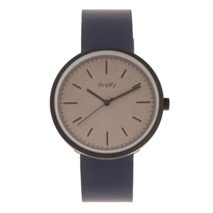 Simplify The 3000 Leather-Band Watch - Navy - SIM3005