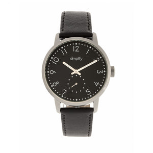 Simplify The 3400 Leather-Band Watch - Silver/Black - SIM3402