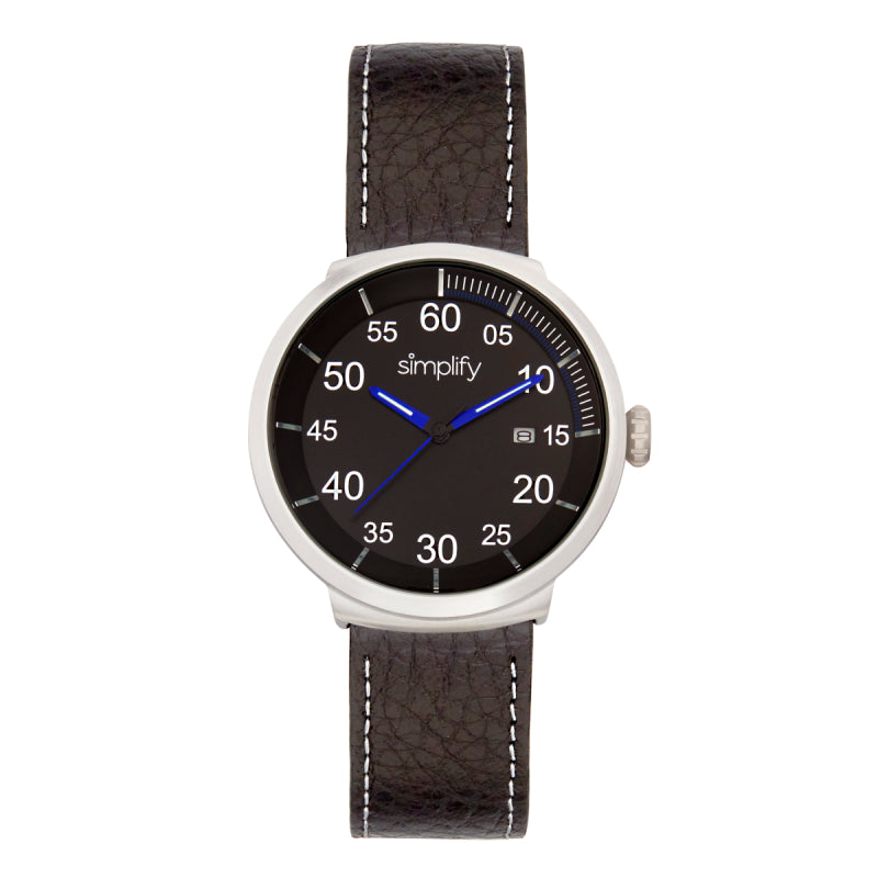 Simplify The 7100 Leather-Band Watch w/Date