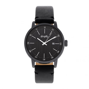 Simplify The 2500 Leather-Band Men's Watch w/ Date - Black - SIM2502