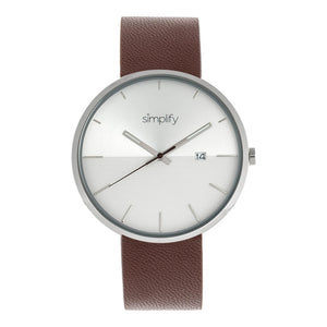 Simplify The 6400 Leather-Band Watch w/Date