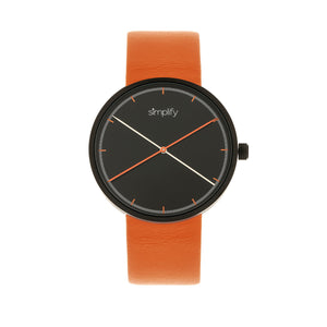 Simplify The 4100 Leather-Band Watch - Black/Orange - SIM4103
