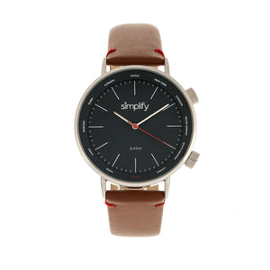 Simplify The 3300 Leather-Band Watch - Brown/Navy - SIM3303