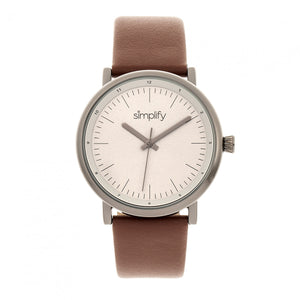 Simplify The 6200 Leather-Strap Watch - Grey/Brown - SIM6205