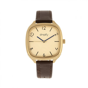 Simplify The 3500 Leather-Band Watch - Gold/Brown - SIM3508