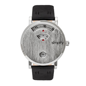 Simplify The 7000 Leather-Band Watch - Silver/Black - SIM7001