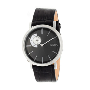 Simplify The 3100 Leather-Band Watch - Silver/Black - SIM3102