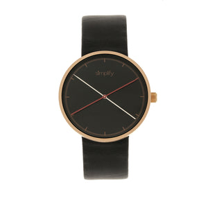 Simplify The 4100 Leather-Band Watch - Rose Gold/Black - SIM4106