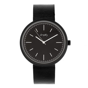 Simplify The 3000 Leather-Band Watch - Black - SIM3001