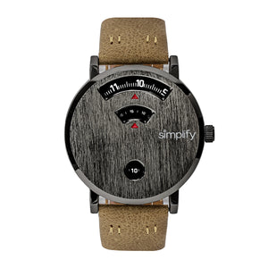 Simplify The 7000 Leather-Band Watch - Gunmetal/Brown - SIM7005