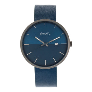 Simplify The 6400 Leather-Band Watch w/Date - Gunmetal/Blue - SIM6406